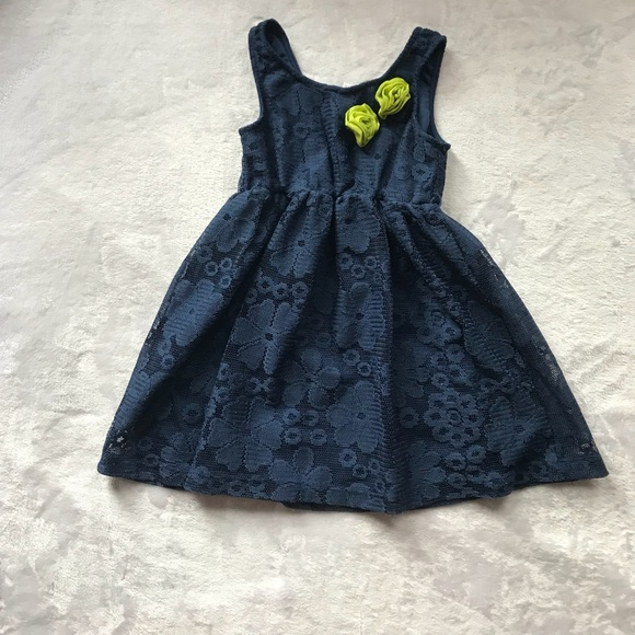 19eecb025 Macy's Dresses | Navy Blue Floral Print Toddler Dress Size 4 | Poshmark